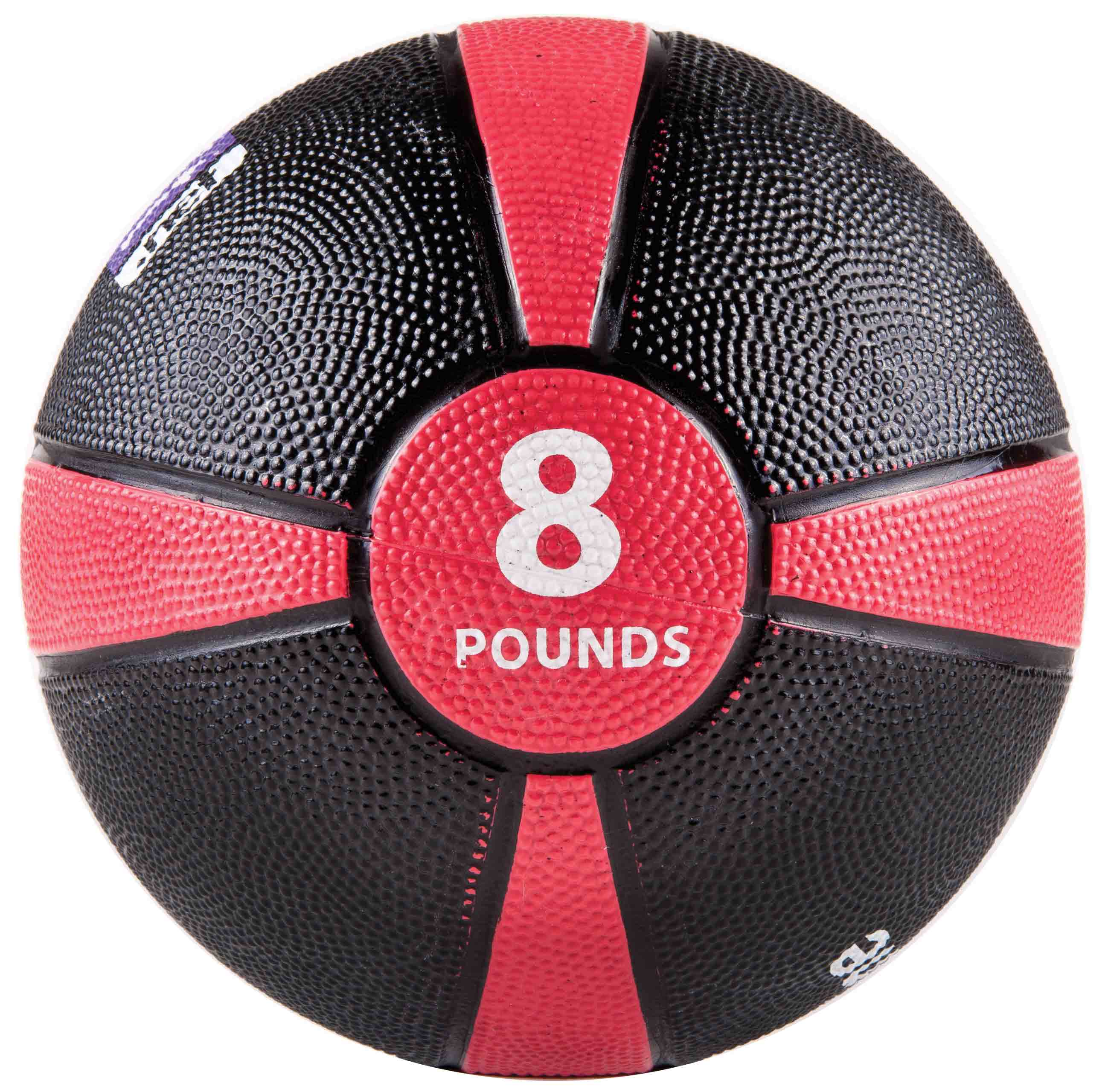 Rubber Medicine Ball with Training Manual - 8lb Red/Black