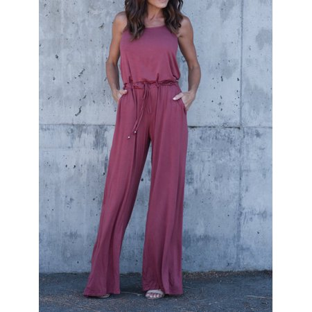 Fashion Casual Womens Spaghetti Strap Loose Romper Long Pants Jumpsuit Clubwear with Waist Tie And Placket - Romper Adult