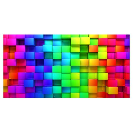 Abstract Boxes - Design Art Rainbow of Colorful Boxes Abstract Graphic Art on Wrapped Canvas