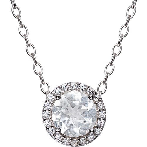 CZ Sterling Silver 6mm Round Halo Pendant, 18""