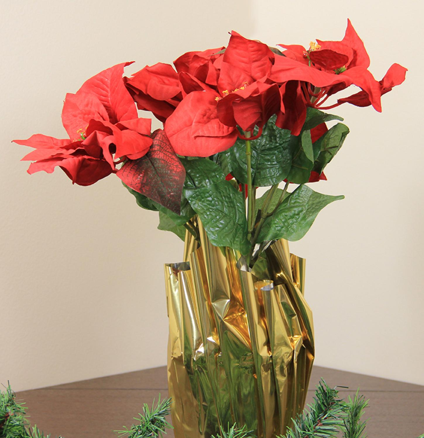 "24"" Red Artificial Poinsettia Potted Christmas Plant with Gold Foil Covering"