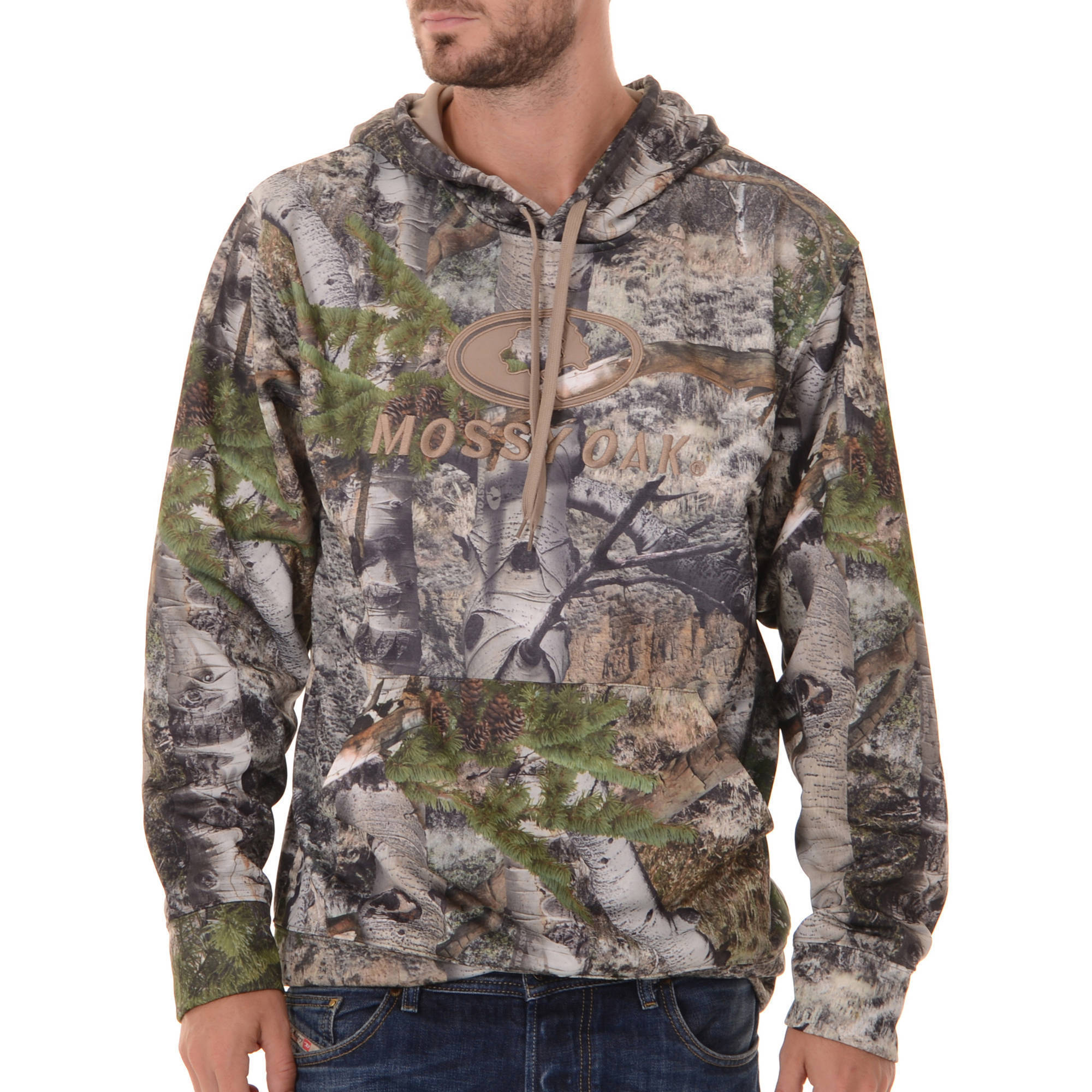 Realtree and Mossy Oak Mens Camo Performance Pullover Fleece Hoodie