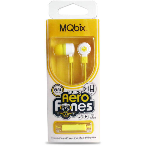 MQbix  Talking AeroFones Flat Cable Earphones with Mic MQGT26GRY-L Gray