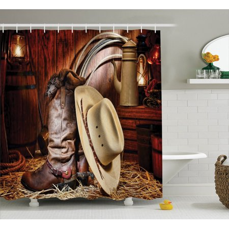Western Decor  Authentic American West Rodeo Elements With Antique Ranching Supplies Retro Art Photo, Bathroom Accessories, 69W X 84L Inches Extra Long, By Ambesonne