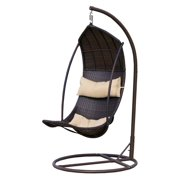 Bristol Outdoor Brown Wicker Swinging Lounge Chair