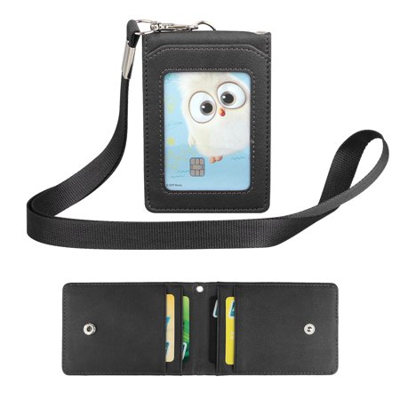 Leather Wallet Work Office ID Badge Card Credit Holder Neck Strap Lanyard 5 Slot (Id Card Holder Lanyard)