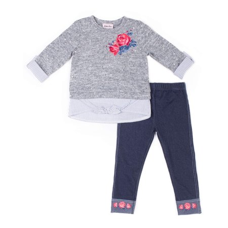 Little Girl Birthstone Charm - Little Lass Pearl 2Fer Sweater Knit Top & Legging, 2-Piece Outfit Set (Little Girls)