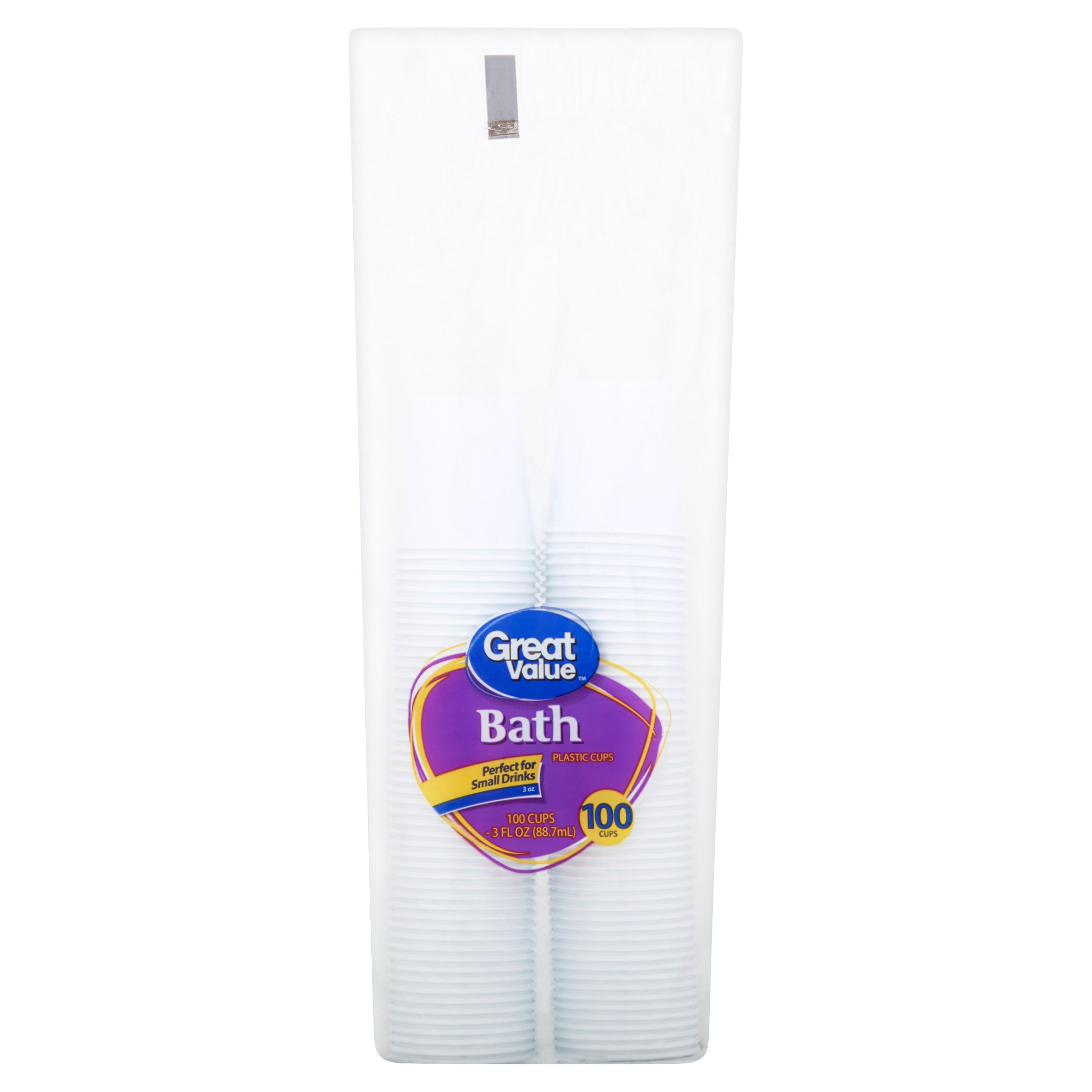 Great Value Bath Plastic Cups, 3 oz, 100 Count