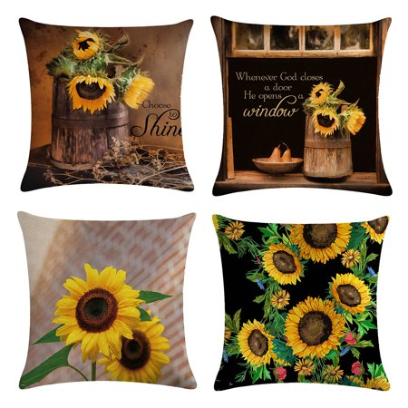 Summer Decorative Pillow Cover Linen Square Yellow Sunflower Pillow Case Cushion Cover Pillowcases for Home Living Room Bedroom Garden Decor, 18in * 18in ()