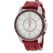 Analog Watch, Red Rubber Strap