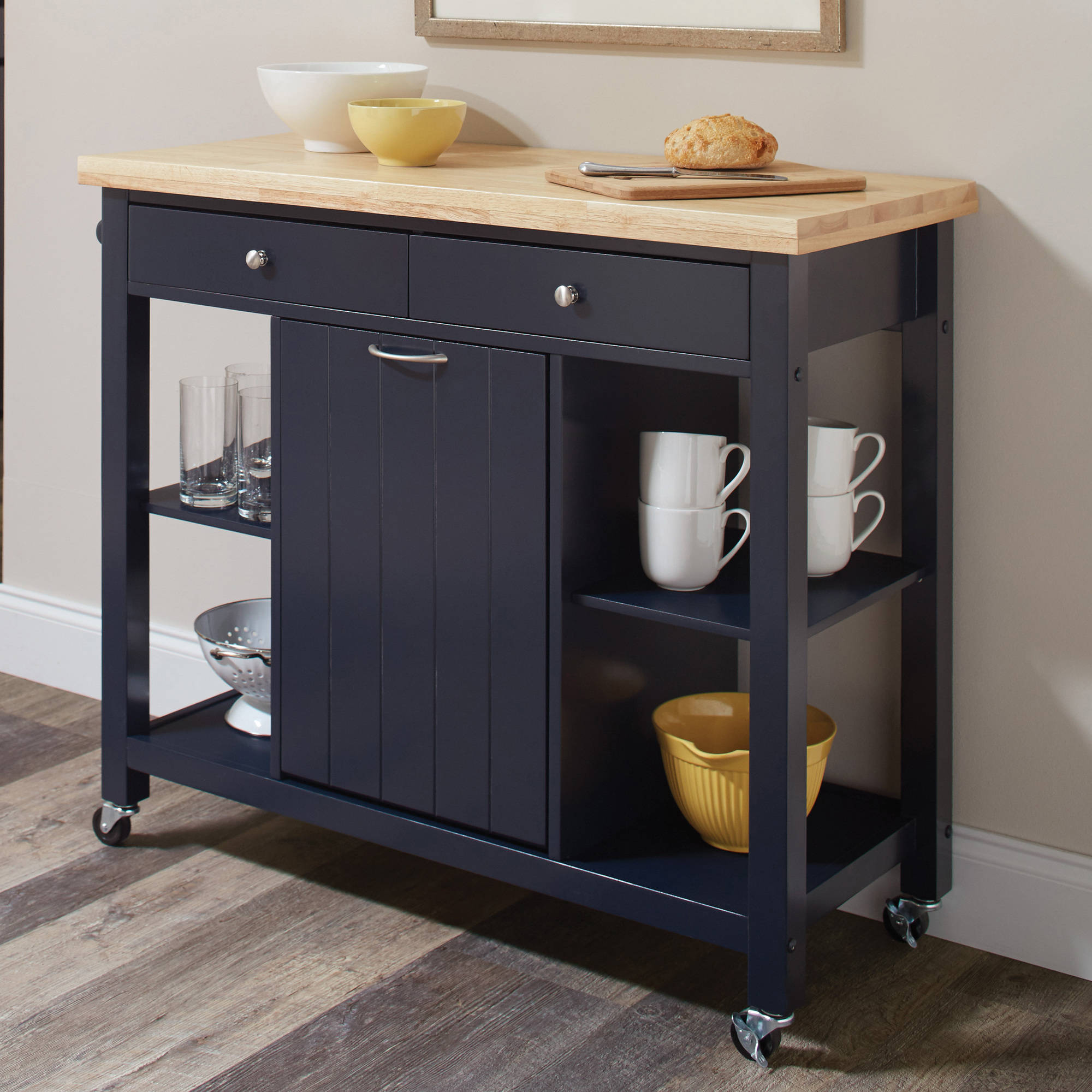Coaster Company Kitchen Cart With Garbage Compartment, Natural and Navy Blue by Coaster Company