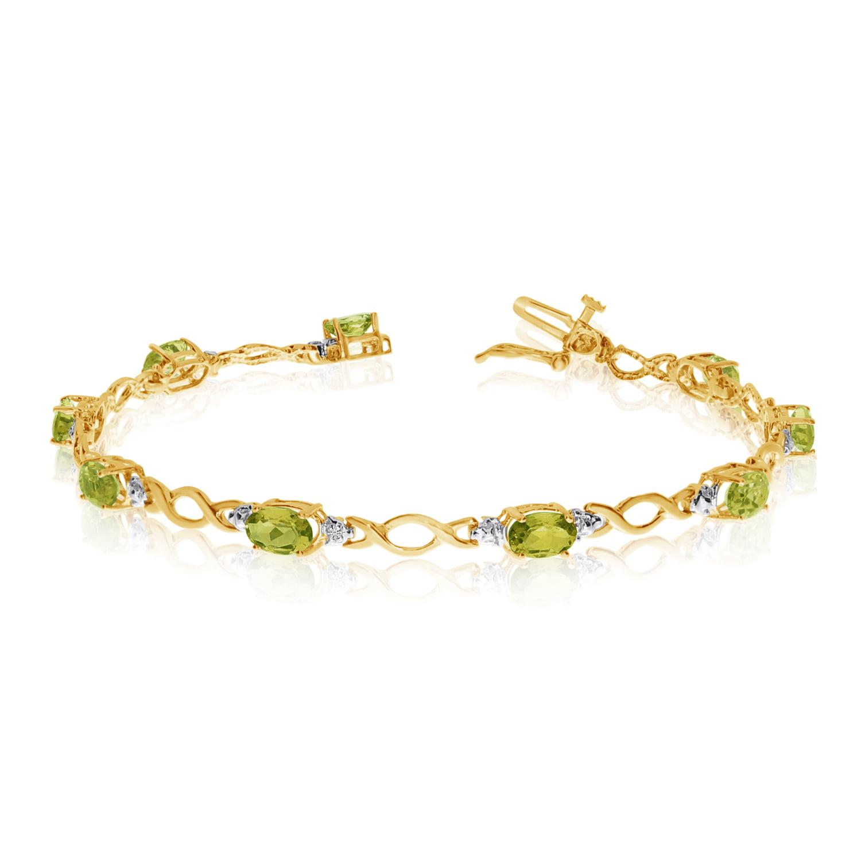 14K Yellow Gold Oval Peridot and Diamond Bracelet by LCD