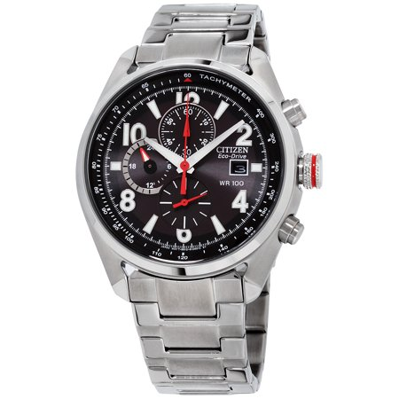 Eco-Drive 180PR Mens Black Chronograph Stainless Steel Watch CA0368-56E