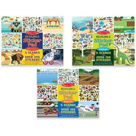 Melissa & Doug Reusable Sticker Pads Set - Habitats, Vehicles, and Adventures
