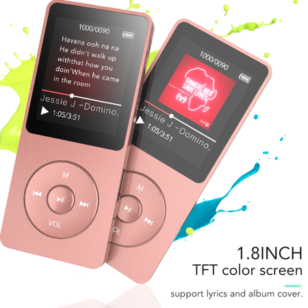 AGPTEK  Bluetooth 4.0 8G MP3 Player, A02T Lossless Sport Music Player with FM Radio, Voice Recorder for Kids & Adult