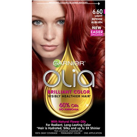 Garnier Olia Oil Powered Permanent Hair Color, 6.60 Light Intense (Best Dark Auburn Hair Color)