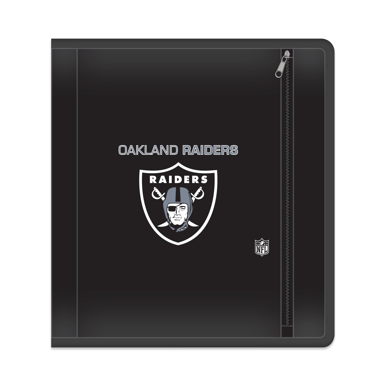 "NFL Oakland Raiders Zippered 3 Ring Binder, 250 Sheet Capacity, 1.625"" Metal Rings"