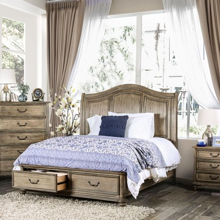Rustic Wood Queen Storage bed in Brown Belgrade i by Furniture of (American Outlet Stores Online)