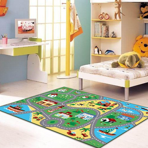 "City Street Map Children Carpet Classrooms Play Mat Childrens Area Rug 3'3""x5'"