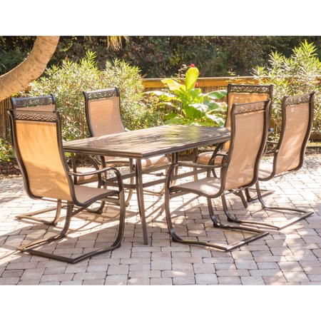 Hanover Monaco 7-Piece Outdoor Dining Set with C-Spring Chairs and Tile-Top Table in Cedar ()