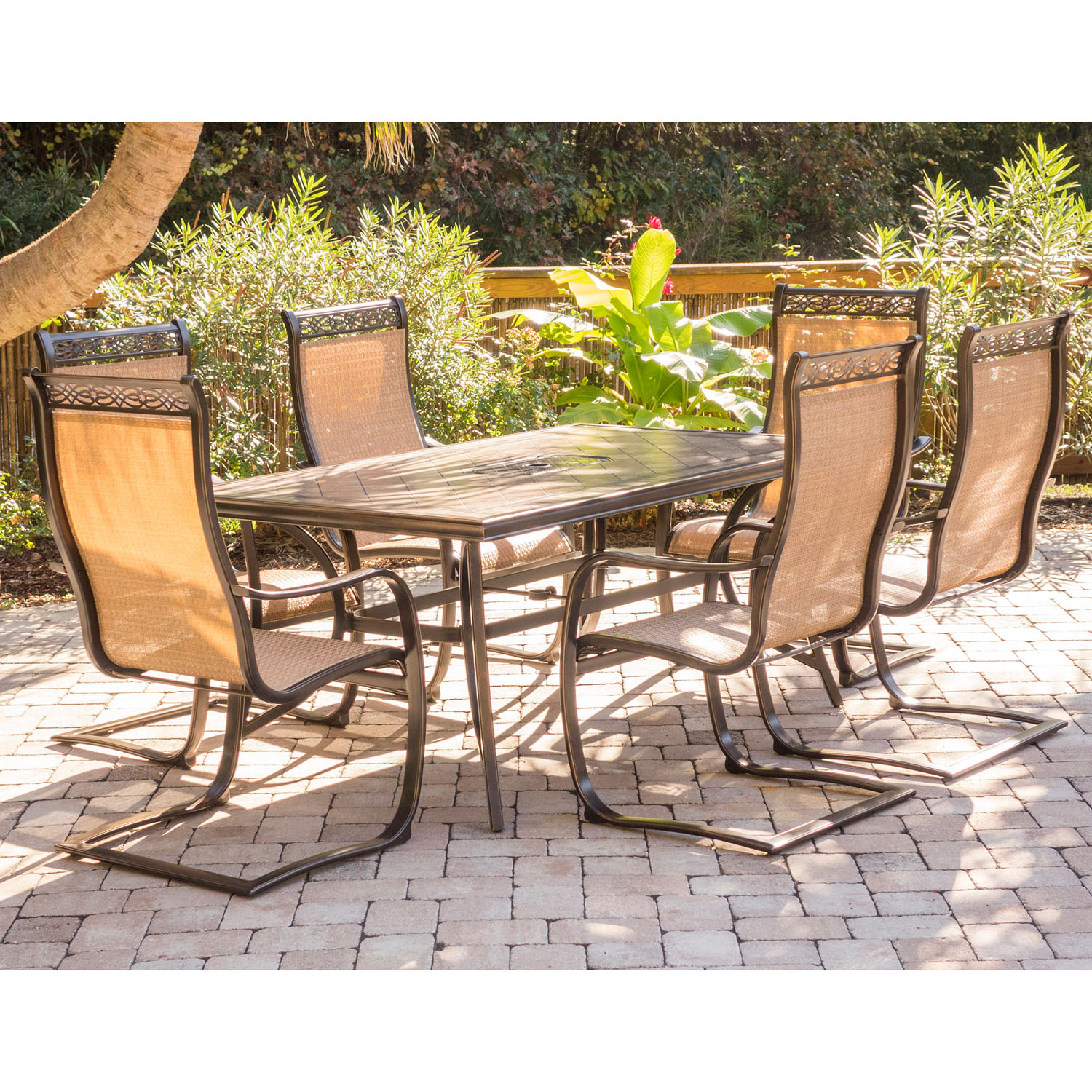 Hanover Monaco 7-Piece Outdoor Dining Set with C-Spring Chairs and Tile-Top Table in Cedar