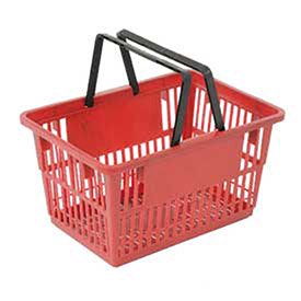 Plastic Shopping Basket with Plastic Handle, Standard, 17 L X 12 W X 9 H, Red, Lot of 12 Good L Corp.   Plastic Shopping Basket with Plastic Handle, Standard, 17 L X 12 W X 9 H, RedOpen mesh design provides air circulation and high visibility for parts picking or grocery shopping, Lightweight, rigid construction for up to 100 lb. capacity. Sturdy, Comfortable easy grip fiberglass filled nylon  handles fold back when not in use. Nestable to save space. Ideal for any retail store. Durable in design and easy to carry, these shopping baskets bring convenience to your customers., Lot of 12