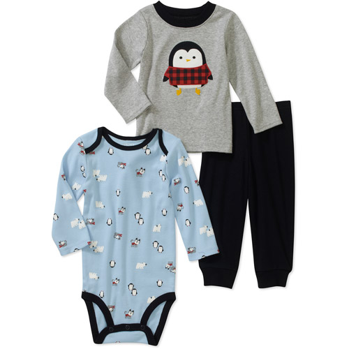 Child of Mine by Carters Newborn Boys' 3 Piece Penguin Tee's and Pant Set