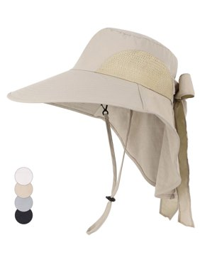 Womens Foldable Flap Cover UPF 50+ UV Protective Wide Brim Bucket Sun Hat Khaki