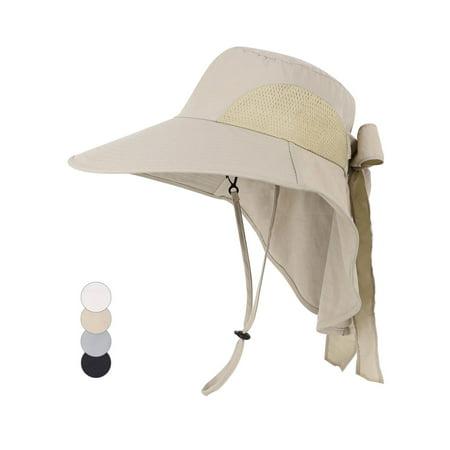 Womens Foldable Flap Cover UPF 50+ UV Protective Wide Brim Bucket Sun Hat Khaki](Personalized Bucket Hats)