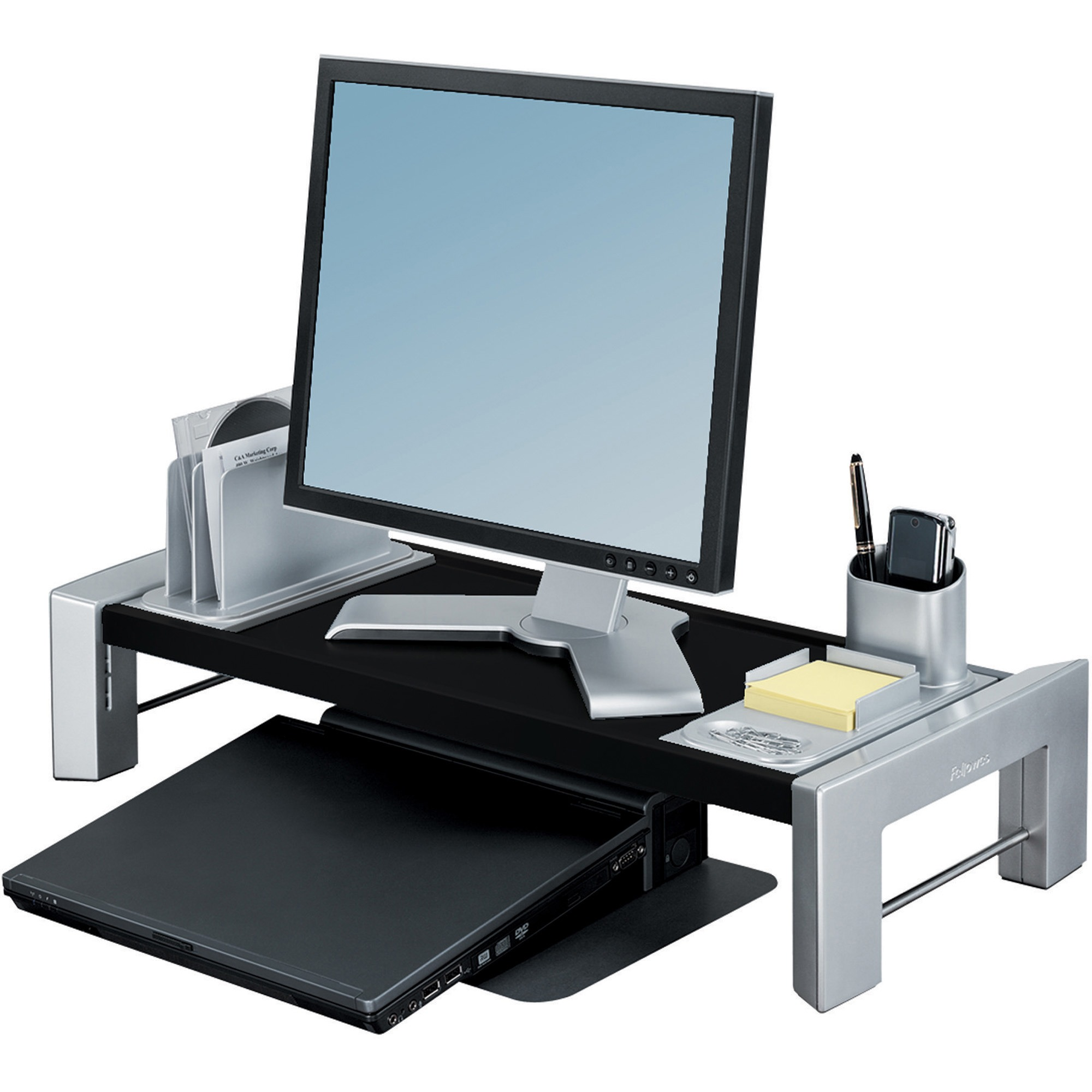 Fellowes, FEL8037401, Flat Panel Adjustable Height Workstation, 1 Each, Silver,Black