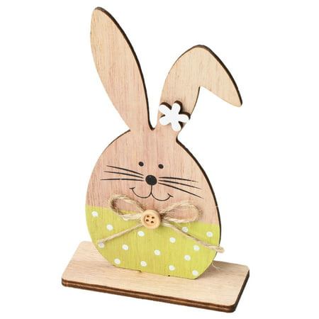 1PC Wooden Ornaments Rabbits Bunny Table Stand Tags With Easter Egg Ribbon DIY Wood Crafts for Home Decorations Easter Party - Decorations For Easter