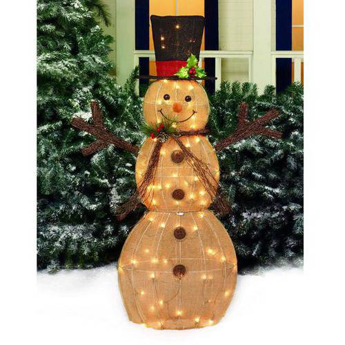 "Holiday Time 48"" Sparking Burlap Snowman with Black Hat Light Sculpture"