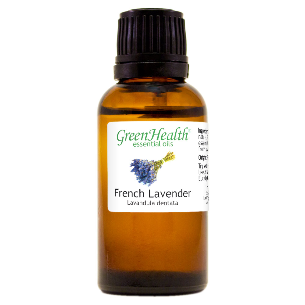 French Lavender Essential Oil - 1 fl oz (30 ml) Glass Bottle w/ Euro Dropper - 100% Pure Essential Oil by GreenHealth