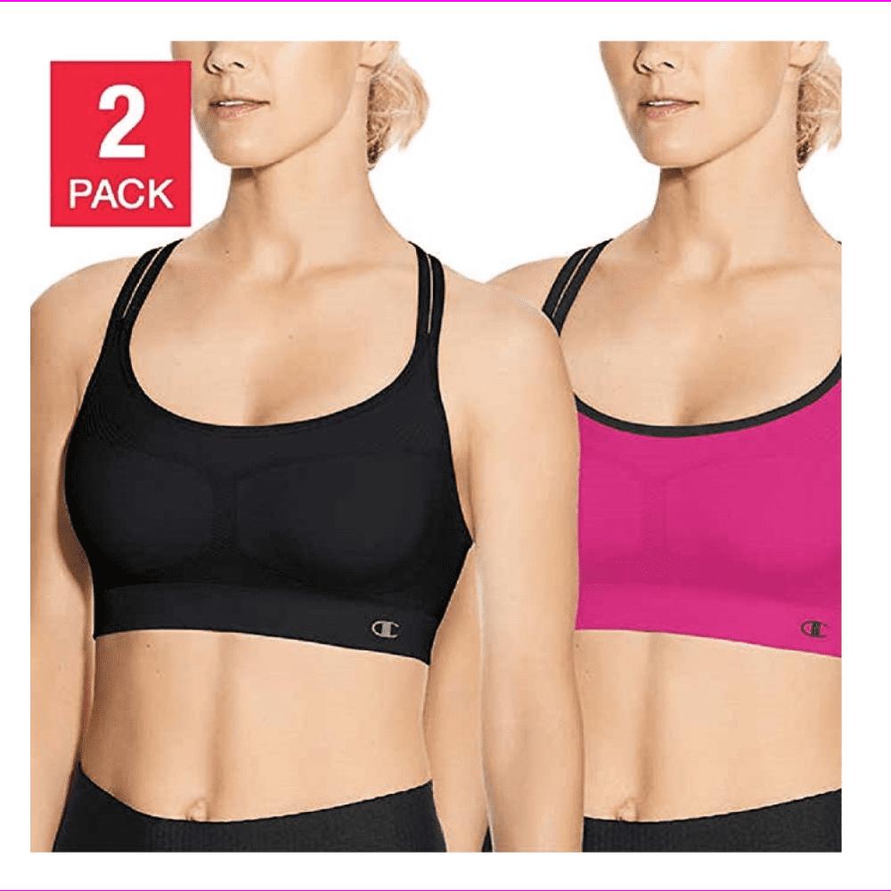 L M Size S Champion 2 pack Women/'s Seamless Criss Cross Bras in Black//Pink