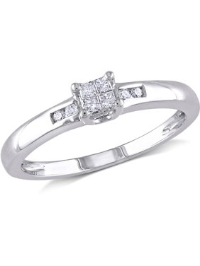 1/8 Carat T.W. Princess and Round-Cut Diamond Sterling Silver Engagement Ring