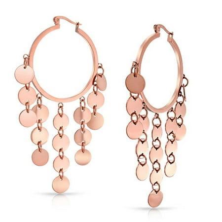 Bohemian Boho Sequin Coin Dangle Big Hoop Chandelier Earrings For Women For Teen Rose Gold Plated Stainless Steel (Hoop Dangle Chandelier Earrings)