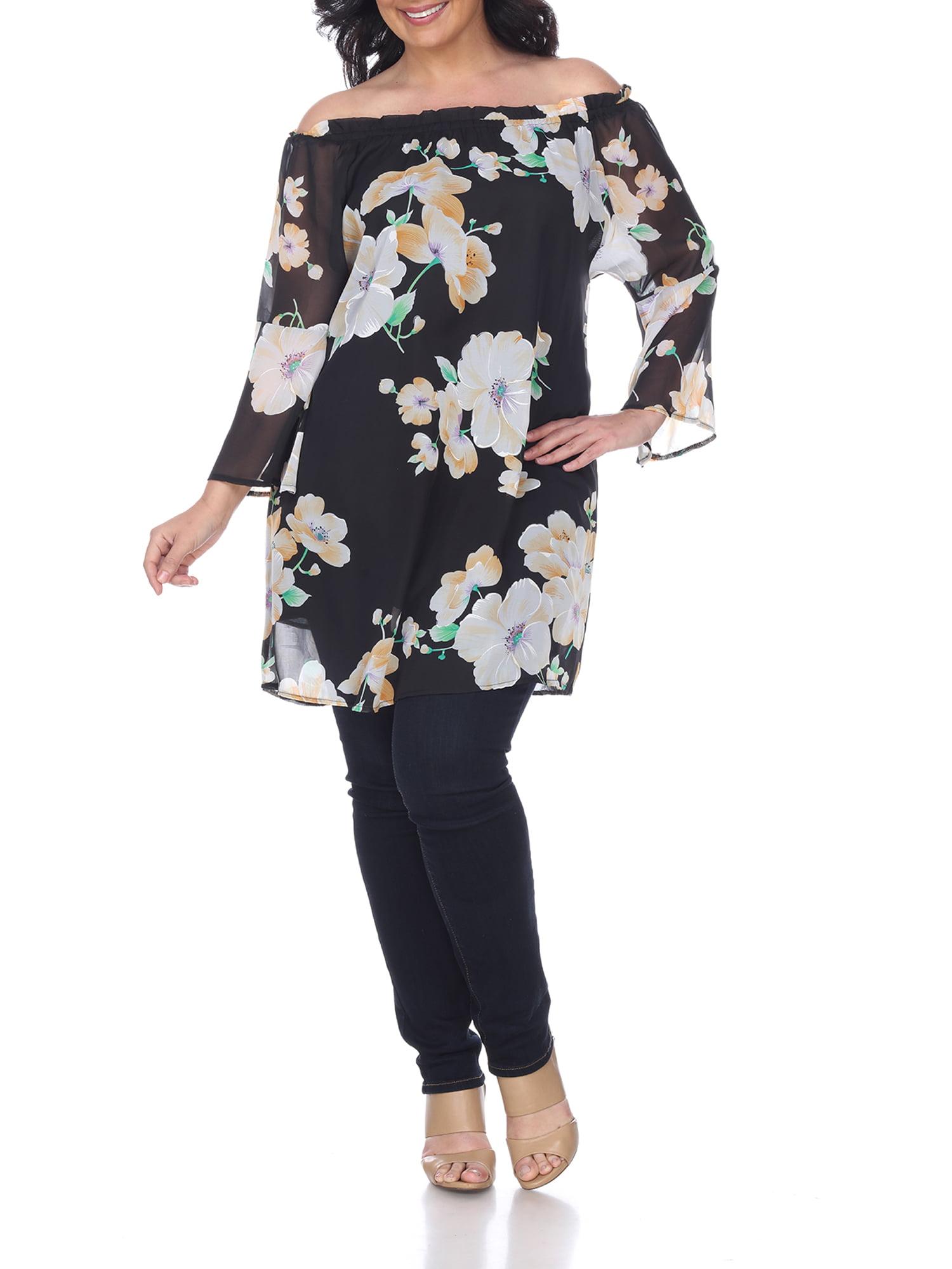 Women's Plus Size Floral Print Off Shoulder Tunic Top