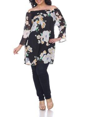 bd40fb5e6cc Product Image Women s Plus Size Floral Print Off Shoulder Tunic Top