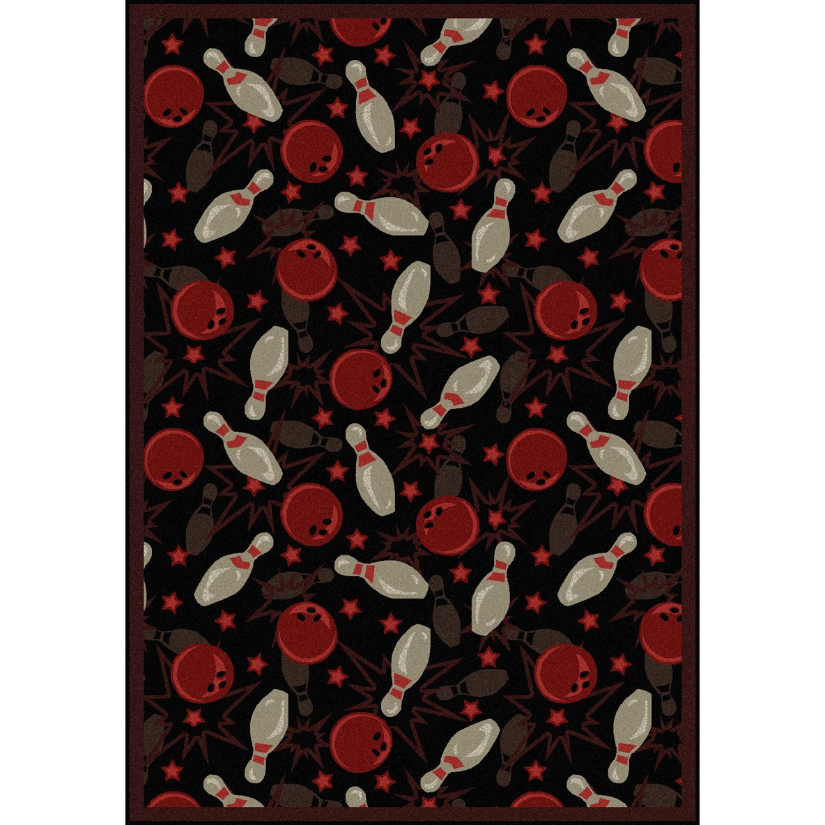 "Joy Rugs Retro Bowl Machine Tufted - Cut Pile Fireball Red 5'4"" x 7'8"" - Area Rug"