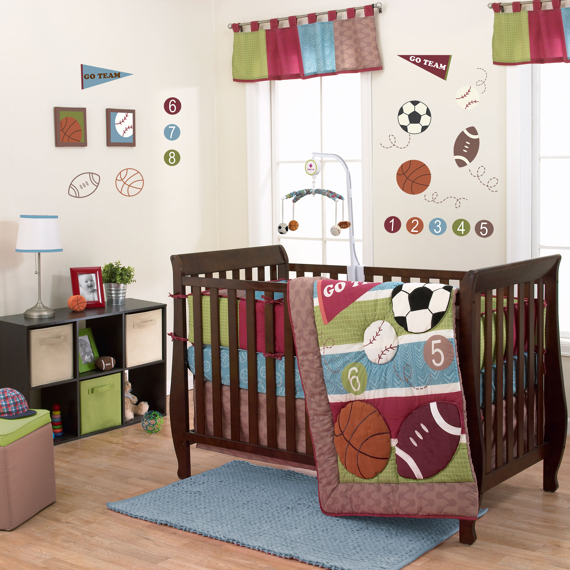 Belle Crib Bedding Set - Sports Theme - Sports Star 3 Piece Baby Crib Bedding Set