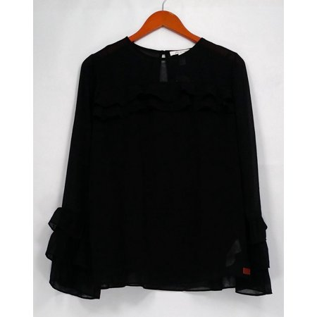 Peace Love World Top Sz 8 Ruffle Sleeve Top with Camisole Black A295090
