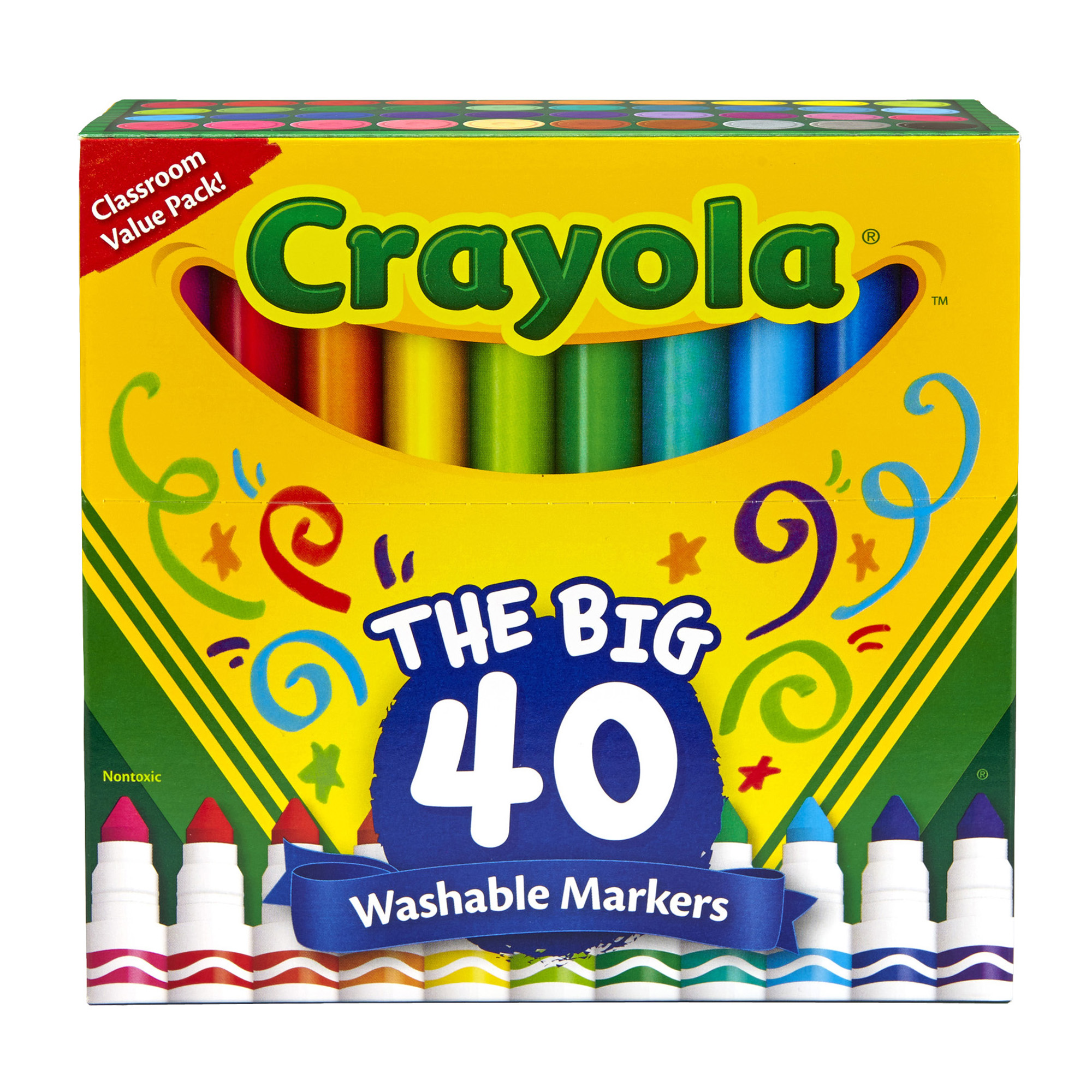 Crayola® Washable Markers, Broad Line, Assorted Colors, Pack of 40