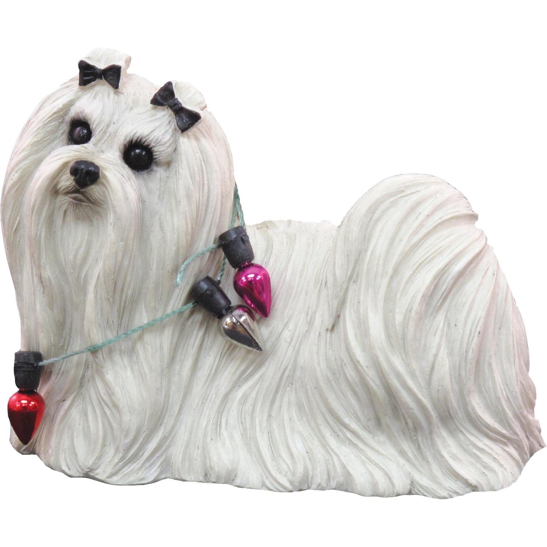 Sandicast Standing Maltese with Lights Christmas Dog Ornament