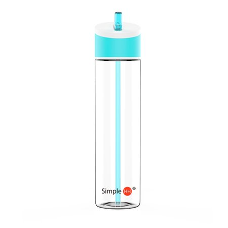 SimpleHH 21oz Sports Beverage Water Bottle with Flip Cap/Straw (Water Bottles With Straws)