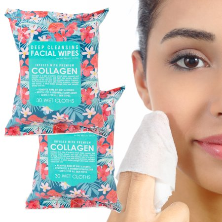 My Beauty Spot (2 Pack) Deep Cleansing Facial Wipes Makeup Remover Wipes Sensitive Skin 60 Cloths For Women Collagen
