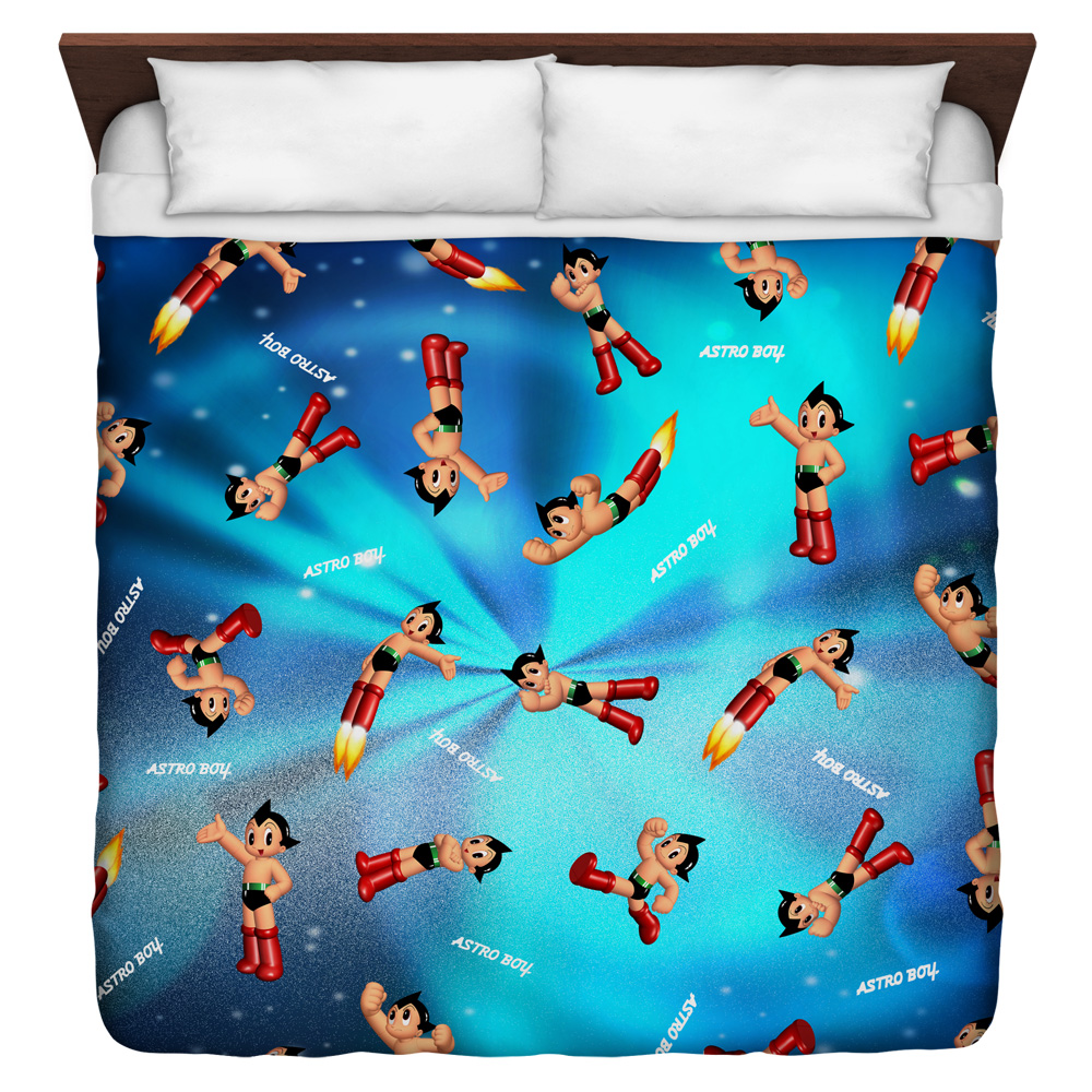 Astro Boy Pattern King Duvet Cover White 104X88