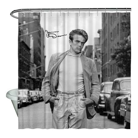 James Dean Walk Shower Curtain White 71X74