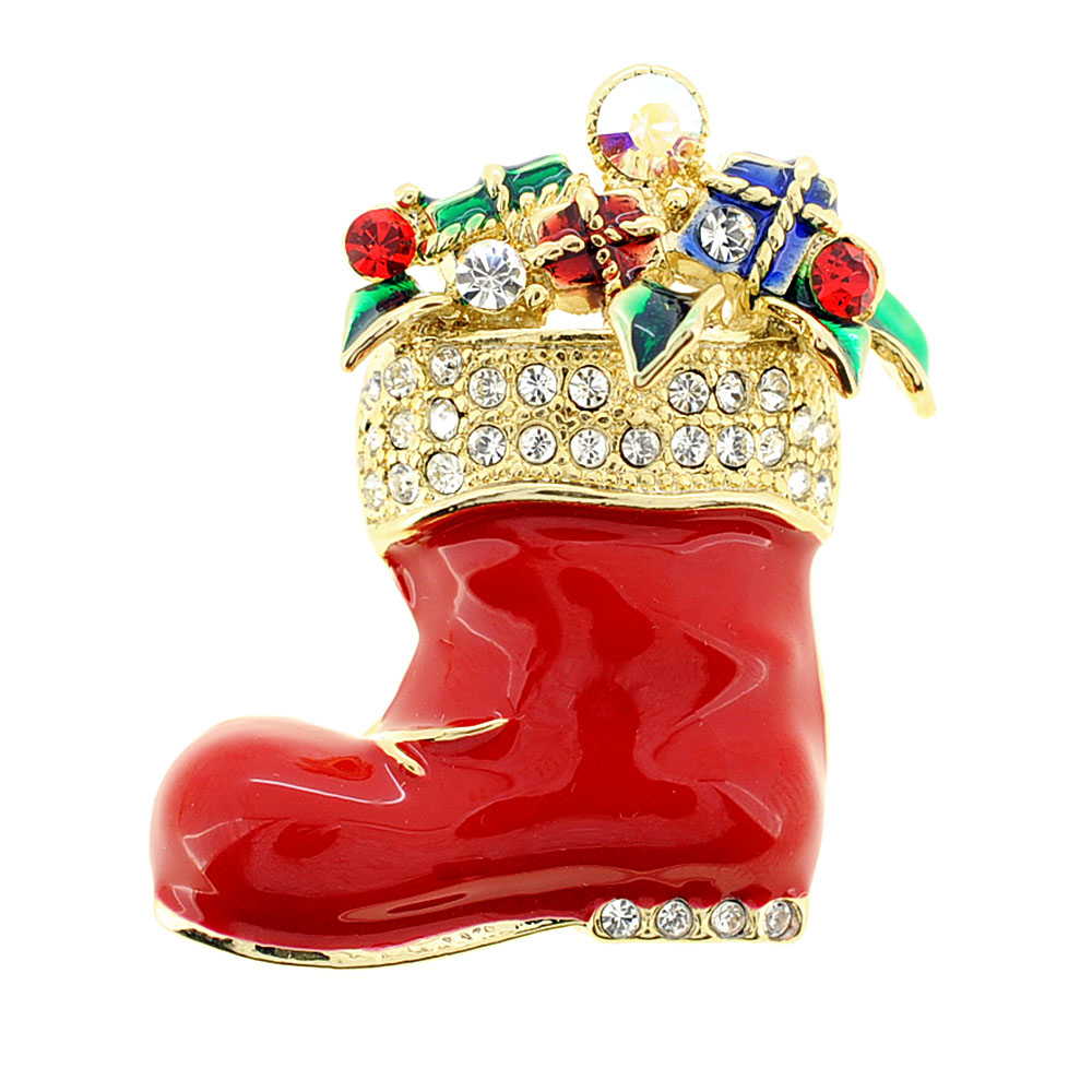 Red Christmas Stocking Swarovski Crystal Pin Brooch by
