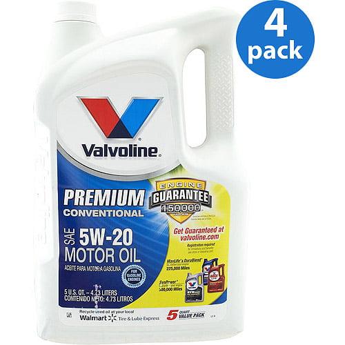 Valvoline 5W-20  Premium Conventional Motor Oil, 5 qt./ 4-pack