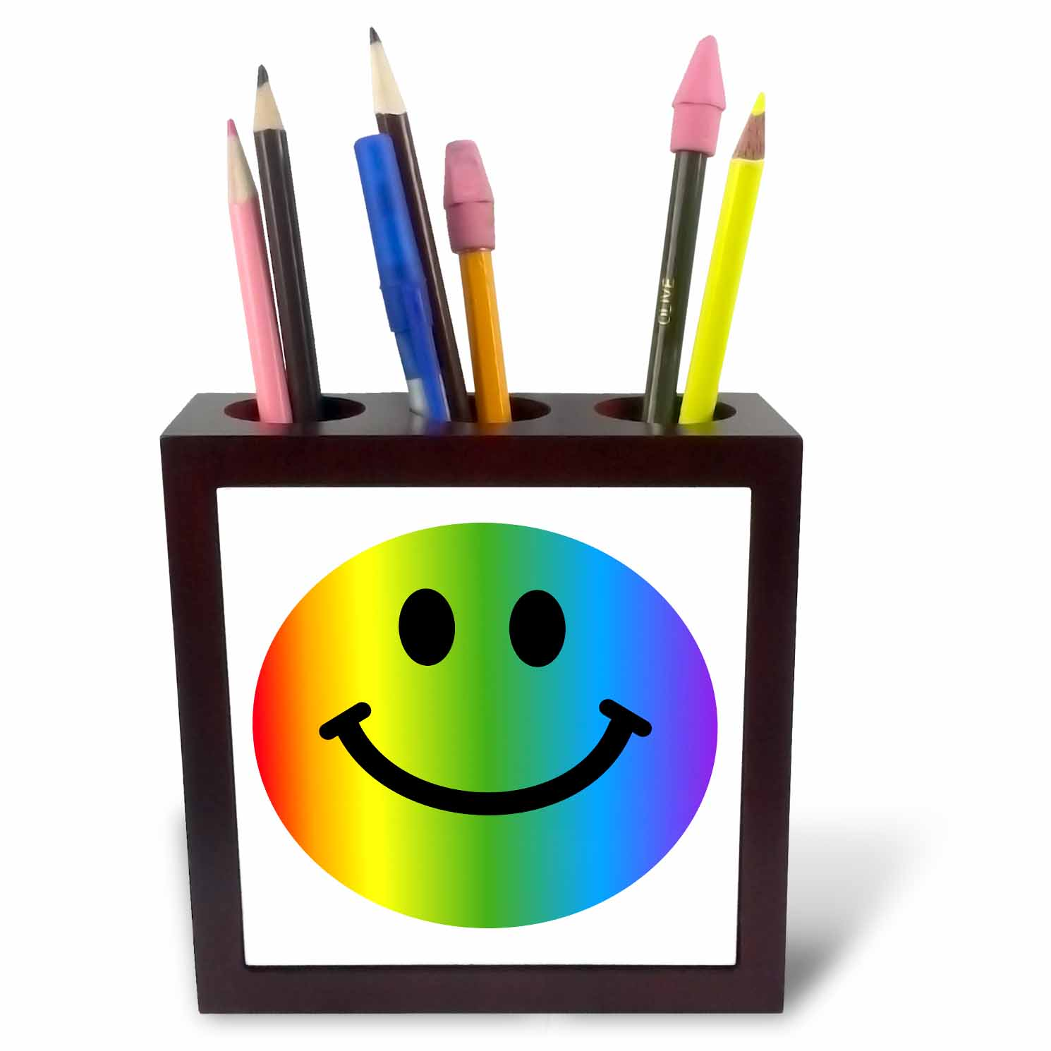 3dRose Rainbow smiley face - colorful gay and happy smilie - multicolor smiling cartoon multicolored smile, Tile Pen Holder, 5-inch